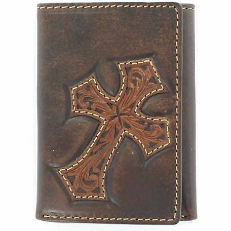 Nocona Distressed Leather Trifold Wallet with Embossed Cross Design