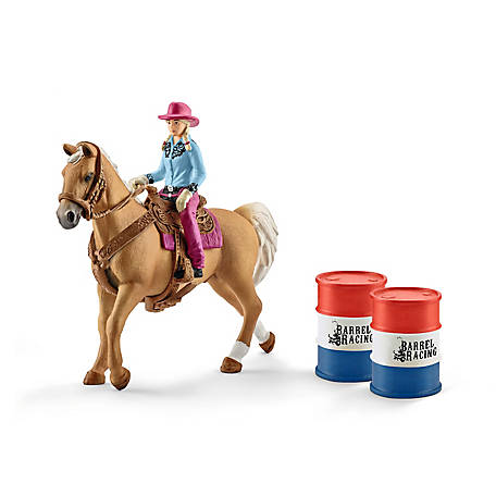 Schleich Barrel Racing with Cowgirl Playset, 41417