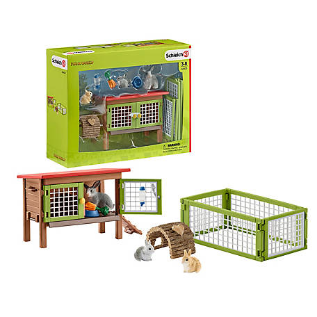 Schleich Rabbit Hutch with Rabbits and Feed Playset