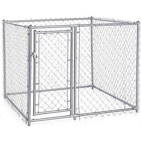 Lucky Dog Galvanized Chain Link Dog Kennel Kit, 4 ft. H x 5 ft. W x 5 ft. L