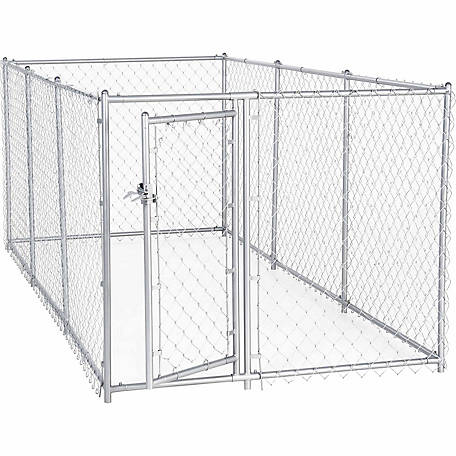 Lucky Dog 2-in-1 Galvanized Chain Link Dog Kennel Kit, 4 ft. H x 5 ft. W x 10 ft. L or 4 ft. H x 8 ft. W x 6.5 ft. L