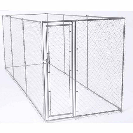 Lucky Dog 2-in-1 Galvanized Chain Link Dog Kennel Kit, 6 ft. H x 5 ft. W x 15 ft. L or 6 ft. H x 10 ft. W x 10 ft. L
