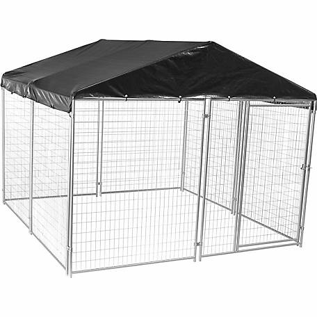 Lucky Dog Modular Welded Wire Kennel Kit with Cover and Frame, Silver, 6 ft. H x 10 ft. W x 10 ft. L