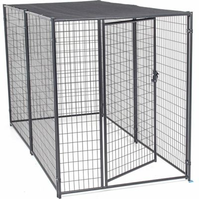 Lucky Dog Modular Kennel with Shade Cloth Roof 6 ft. H x 5 ft. W x 10 ft. L; Black;
