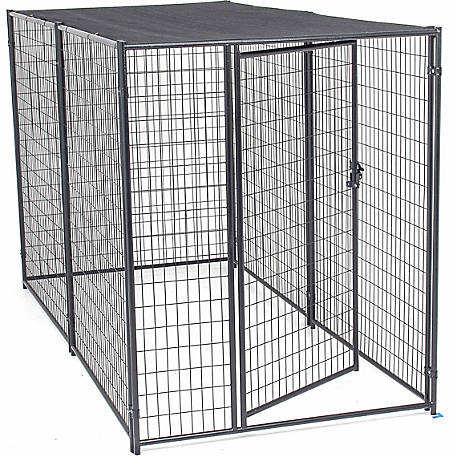 Lucky Dog Modular Kennel with Shade Cloth Roof 6 ft. H x 5 ft. W x 10 ft. L, Black,