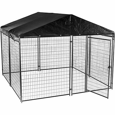 Lucky Dog Modular Kennel with Cover and Frame, 6 ft. H x 10 ft. W x 10 ft. L, Black