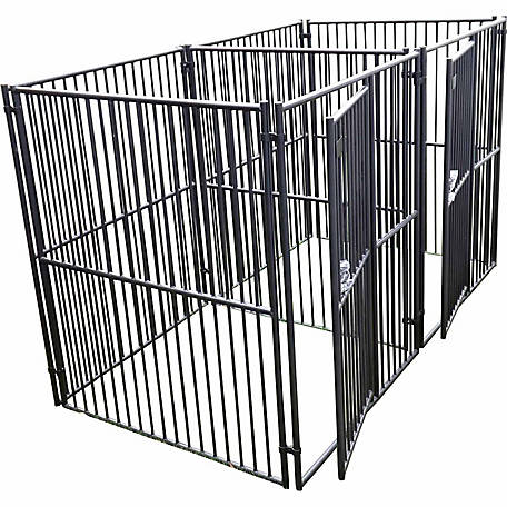 Lucky Dog European Style 2-Run Kennel with Common Wall, 6 ft. H x 5 ft. W x 5 ft. L