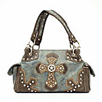 Blazin Roxx Meadow Blue Satchel with Cross Design