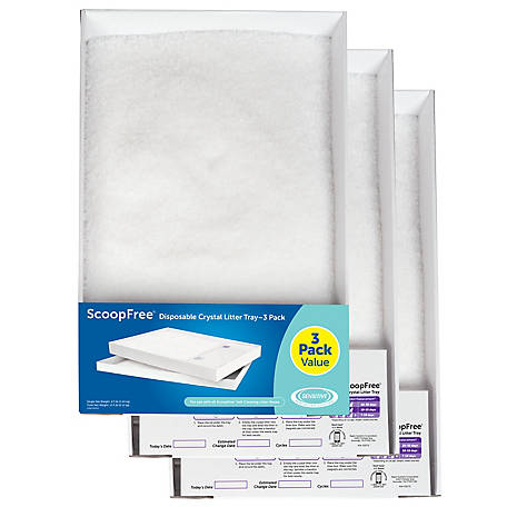 PetSafe ScoopFree Dye-Free Crystals Litter Trays, Pack of 3