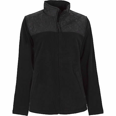 C.E. Schmidt Women's Black Fleece-Lined Zip-Front Sweatshirt With Quilted Nylon Shoulders
