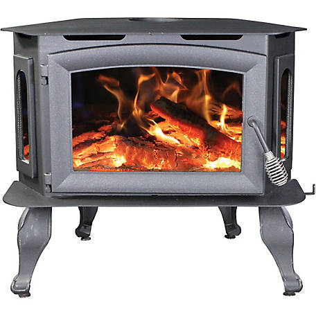 Ashley 1,800 sq. ft. EPA Certified Bay Front Wood Stove with Legs, AW180BL