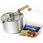 Wabash Valley Farms Original Whirley-Pop with Real Theater Popcorn All-Inclusive Popping Kit, Silver