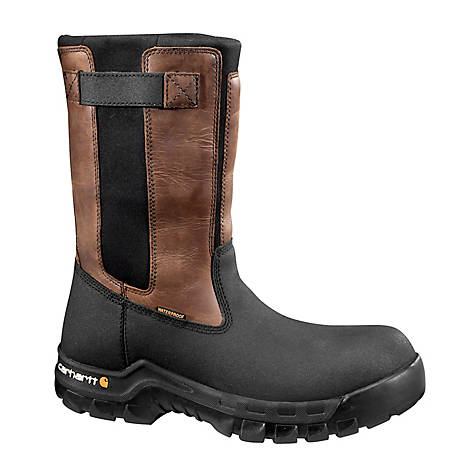 Carhartt Men's 10 in. Brown/Black Rugged Flex Waterproof Composite Toe Pull-On Boot