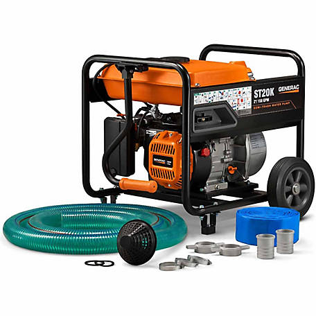 Generac ST20K - 2 in. Semi-Trash Water Pump with Hose & Wheel Kit, 6822