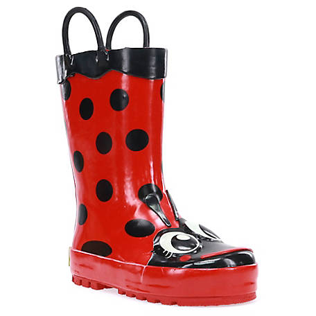 Western Chief Girls Red Ladybug Big Kid Rain Boots