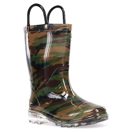 Western Chief Youth Camo Lighted Rain Boots