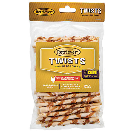 Retriever Rawhide Chicken Wrapped Twists, 50 pk.