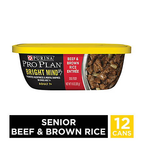 Purina Pro Plan Senior Wet Dog Food; BRIGHT MIND Beef & Brown Rice Entree - 10 oz. Tub