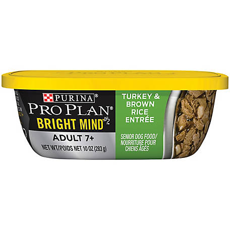 Purina Pro Plan Senior Gravy Wet Dog Food; BRIGHT MIND Turkey & Brown Rice Entree - 10 oz. Tub