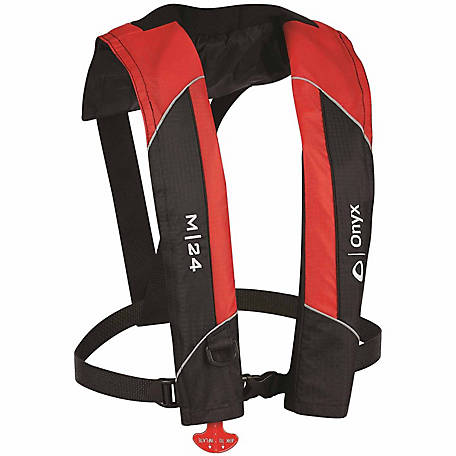 Onyx Outdoor M-24 Manual Inflatable Life Jacket, Red