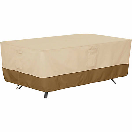 Classic Accessories Veranda Rectangular/Oval Patio Table Cover, Pebble, Large