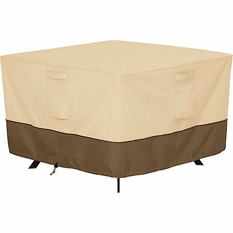 Classic Accessories Veranda Square Patio Table Cover, Pebble, Medium