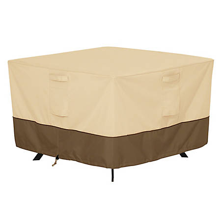 Classic Accessories Veranda Square Patio Table Cover, Pebble, Large