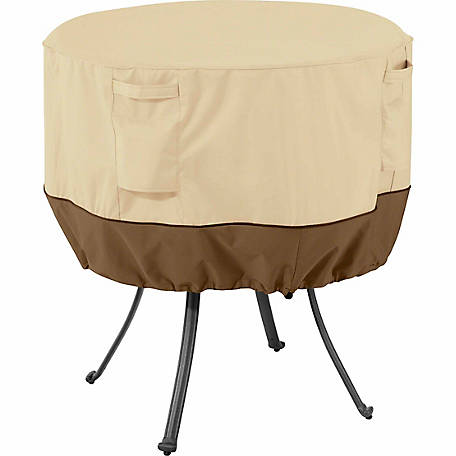 Classic Accessories Veranda Round Patio Table Cover, Pebble, Large