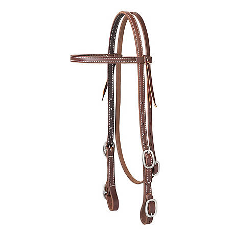 Weaver Leather Working Cowboy Browband Headstall with Buckle Bit Ends
