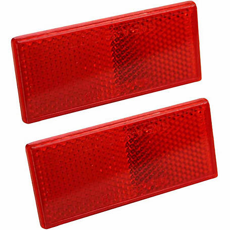 Blazer B178SRW Rectangular Stick-On Reflector, Red, Pack of 2