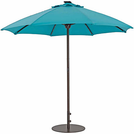TrueShade Plus 9 ft. Automatic Market Umbrella with Sunbrella Fabric, Light Aruba