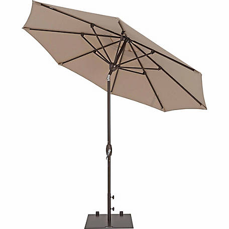 TrueShade Plus 9 ft. Market Umbrella with Sunbrella Fabric, Auto tilt-and-crank, Antique Beige