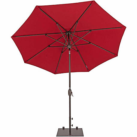 TrueShade Plus 9 ft. Market Umbrella with Sunbrella Fabric, Auto tilt-and-crank, Jockey Red