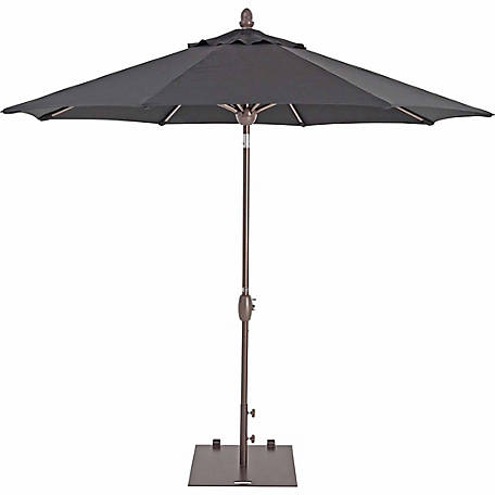 TrueShade Plus 9 ft. Market Umbrella with Sunbrella Fabric, Auto tilt-and-crank, Black