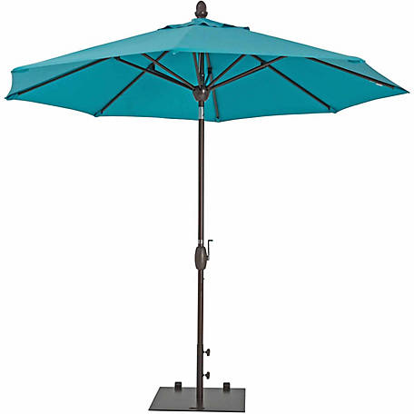 TrueShade Plus 9 ft. Market Umbrella with Sunbrella Fabric, Auto tilt-and-crank, Aruba