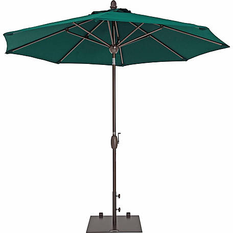 TrueShade Plus 9 ft. Market Umbrella with Sunbrella Fabric, Auto tilt-and-crank, Forest Green