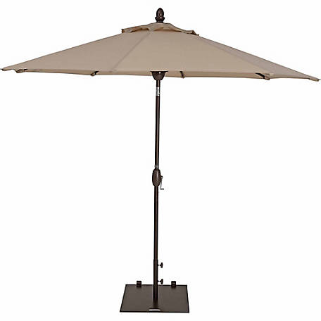 TrueShade Plus 9 ft. Garden Parasol with Push-Button Tilt-And-Crank, 96 in. H, Antique Beige