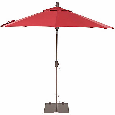 TrueShade Plus 9 ft. Market Umbrella with push-button Tilt, Jockey Red