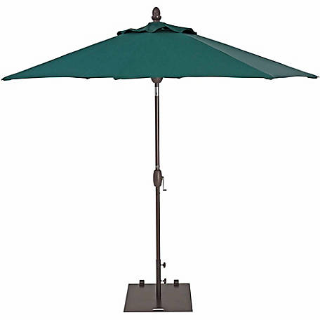 TrueShade Plus 9 ft. Market Umbrella with push-button Tilt, Forest Green