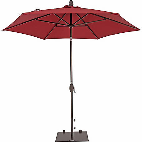 TrueShade Plus 9 ft. Garden Parasol with push-button tilt-and-crank, Jockey Red
