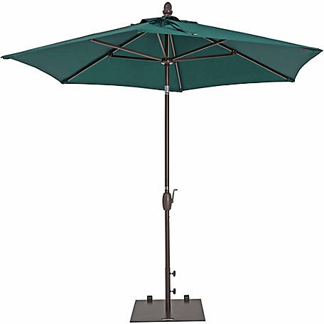 TrueShade Plus 9 ft. Garden Parasol with push-button tilt-and-crank, Forest Green