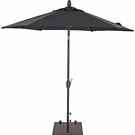 TrueShade Plus 9 ft. Garden Parasol with push-button tilt-and-crank, Black