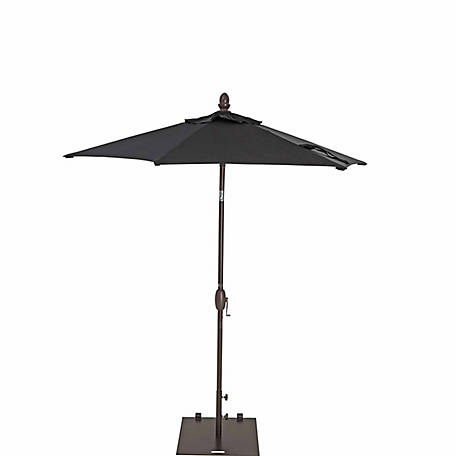 TrueShade Plus 7 ft. Garden Parasol with push-button tilt-and-crank, Black