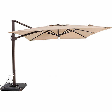 TrueShade Plus 10 ft. x 10 ft. Cantilever Square Umbrella, Light Heather Beige