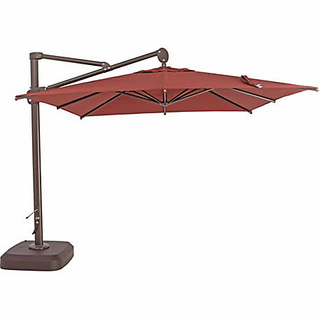 TrueShade Plus 10 ft. x 10 ft. Cantilever Square Umbrella with Sunbrella Fabric, Henna