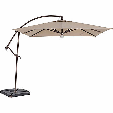 TrueShade Plus 9 ft. x 9 ft. Cantilever Square Umbrella, Light Antique Beige