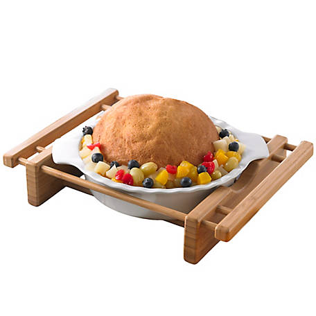 Creative Home Grand Buffet Pie Dish with Bamboo Serving Cradle, 73457