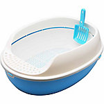 PetPals 15 in. W Oval Litter Tray, Blue
