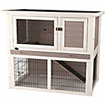 Trixie Pet Products Rabbit Hutch with Sloped Roof, Medium, Gray/White
