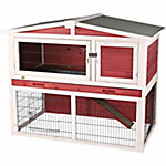 Trixie Pet Products Rabbit Hutch with Peaked Roof, Medium, Red/White